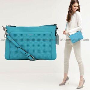 NWT-Coach-48979-Legacy-Perforated-Leather-East-West-Swingpack-Purse-Robin-Blue