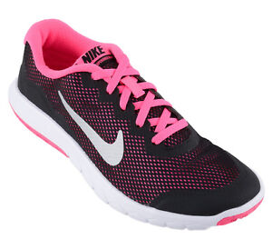 097c1ff3fbb2 Nike Flex Experience 4 Girls Running Shoes Junior Kids Black Pink ...