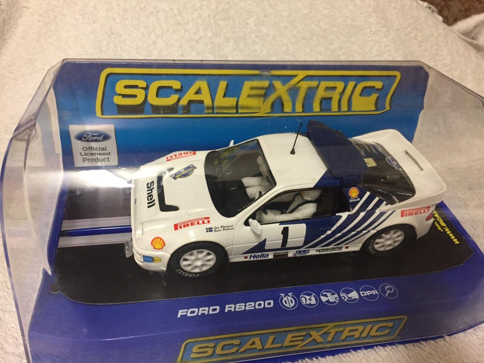 Brand New Scalextric Ford RS200 Sweedish Rally 1986 Stig Blomqvist C3493