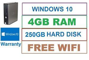 WINDOWS-10-Desktop-FAST-Dell-Intel-PC-Computer-4GB-RAM-250GB-HDD-Wifi-Office