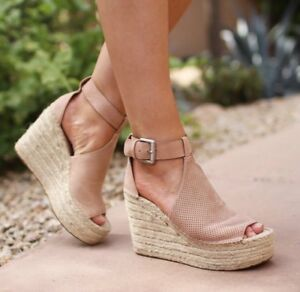 f82892e14753 Marc Fisher LTD  Annie  Perforated Espadrille Platform Wedge Blush ...