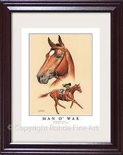 MAN O' WAR - FRAMED HORSE RACING ART famous thoroughbred racehorse Rohde