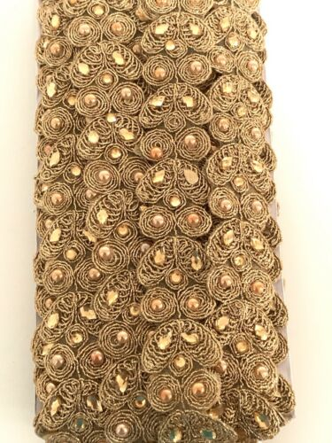 Sold by METRE INDIAN GOLDEN ZARI STONE WORK CRYSTALS WOVEN TRIM//LACE PEARLS