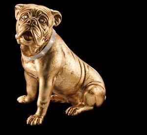 BULL-DOG-CANE-LUPO-CERAMICA-ORO-CRISTALLI-ANIMALI-ARREDO-CASA-SOGGIORNO-SALOTTO