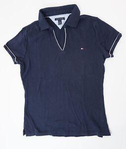 Tommy Hilfiger Poloshirt Polohemd Damen Gr.M blau uni Glatt -S1341