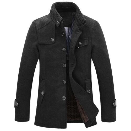 Mens Wool Military Coat Jacket Funnel Neck Black Grey UK Size S M L XL