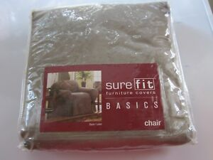Slipcover-Fits-Chair-32-034-43-034-New-Sure-Fit-100-Cotton-Duck-Natural-Linen-NIP