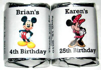 60 Minnie Or Mickey Mouse Birthday Candy Wrapper Favors