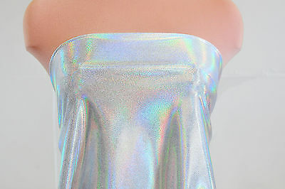 "MYSTIQUE REFLECTIVE HOLO FABRIC STRETCH SILVER/WHITE 58""  DANCE GYMNASTIC SUITS"