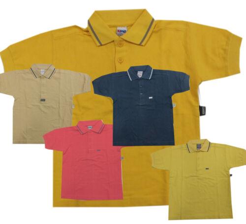 110,116,140 Kanz T-shirt Maglietta Polo a Maniche Corte Giallo Cotone Ragazzo Bambini Mis