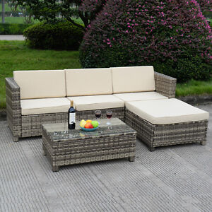 Image Is Loading 5 PC Outdoor Patio Rattan Furniture Set Sectional