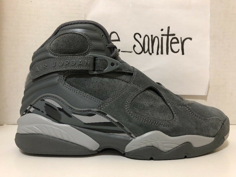 Men's Nike Air Jordan 8 VIII Retro Cool Grey Wolf Suede 305381-014 Size 12