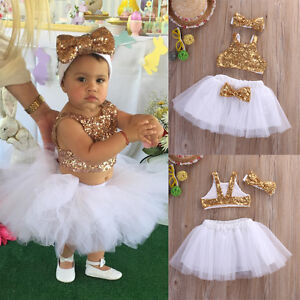 Image Is Loading Toddler Baby Girl Sequins Tops Tutu Skirts Headband