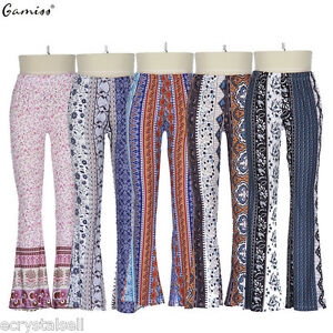 a3ce3be40 Details about New Womens Casual Palazzo Yoga Trousers Wide Leg Hippie Long Stretch  Flare Pants
