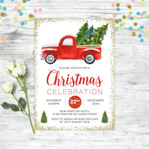Christmas Invitation.Details About Christmas Invitation Party Supplies Christmas Tree Invite Xmas Gold Glitter