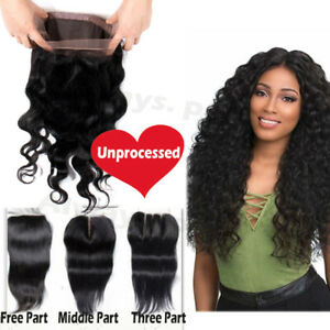 9A-Frontal-Closure-100-Virgin-Human-Hair-Straight-Curly-Deep-Body-Wave-LC-Salon