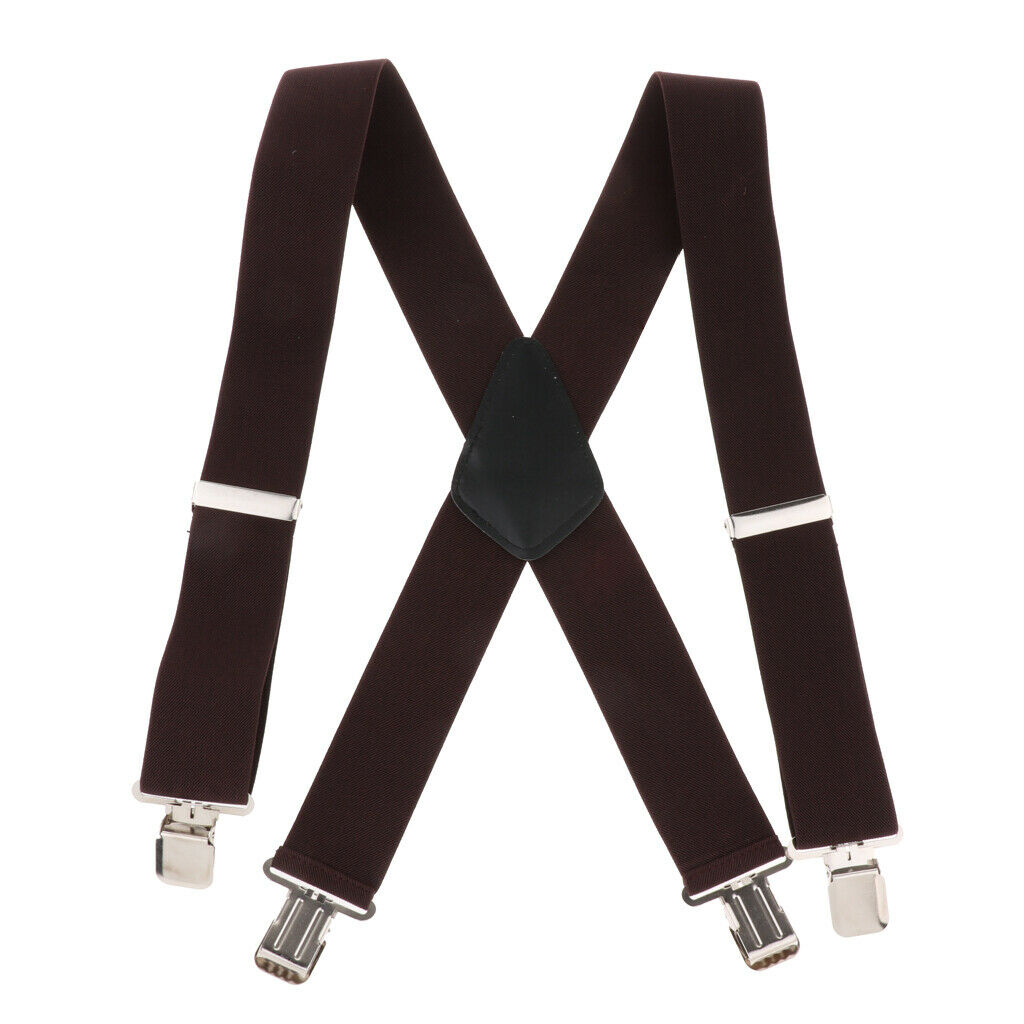 Suspenders w/ Heavy Duty Clips&X Back Adjustable Straps for Adults coffee