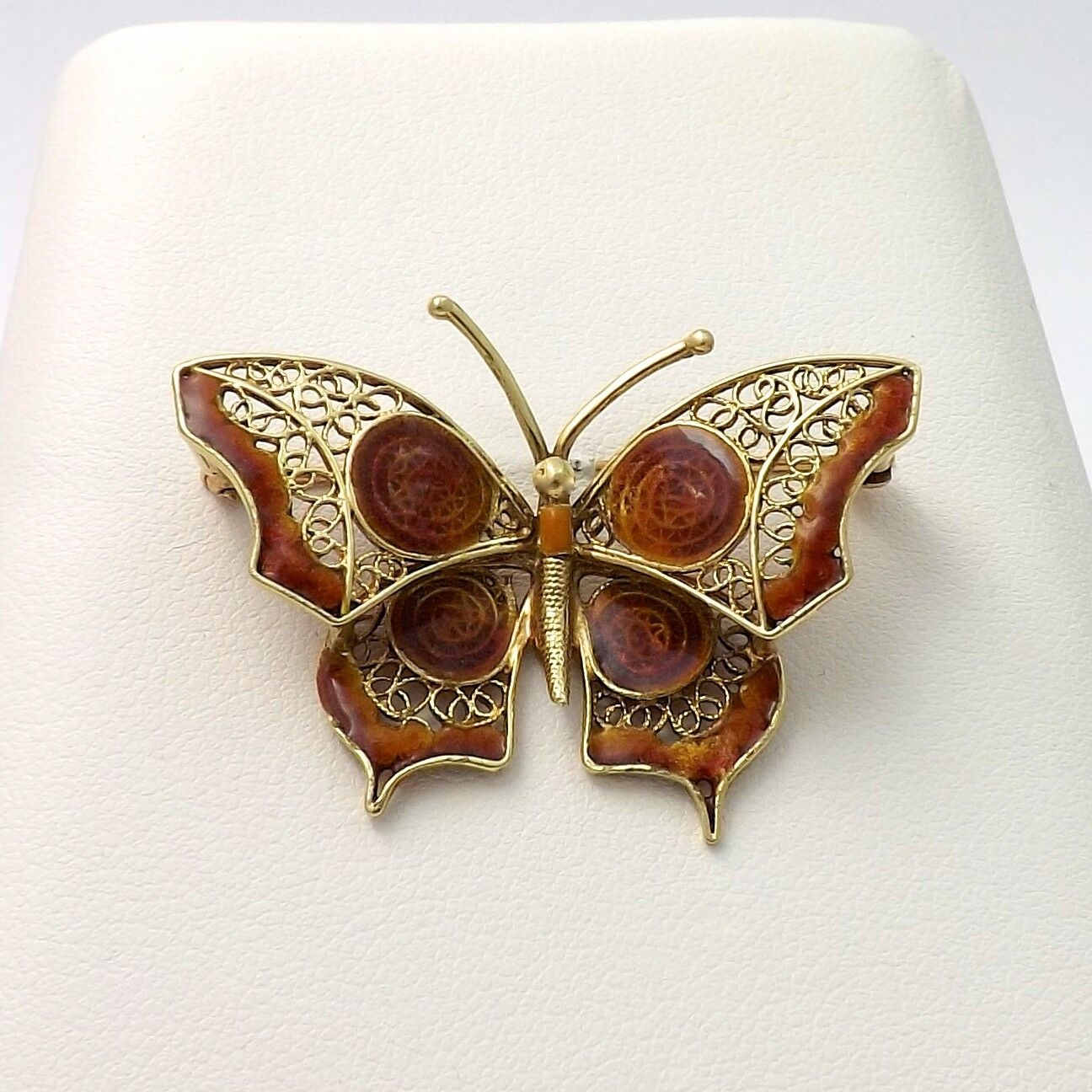 Vintage 14k gold Filigree Enamel Butterfly Brooch Pin 7.1gr