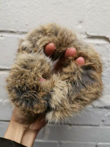 natural brown real genuine rabbit fur elastic hair band bobble tie scrunchies