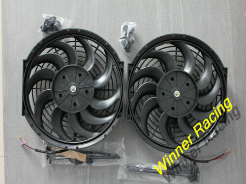 "2*12/"" 24V Universal Push/&Pull Electric Radiator Thermo//Cooling Fan/&Mounting Kit"