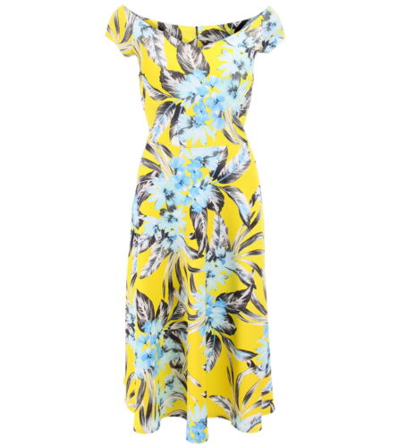 New Yellow Textured Floral Print Bardot Dress Knee Length