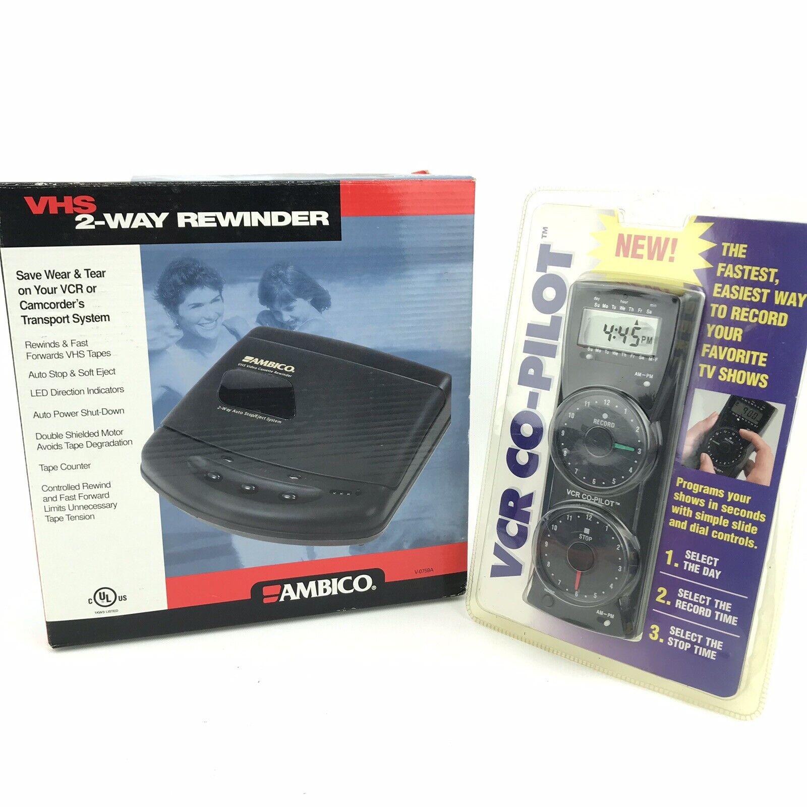 Ambico 2 Way Vhs Video Cassette Tape Rewinder Black Casing w// Auto Eject