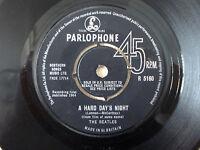 "The Beatles A Hard Day's Night ♫LISTEN♫ 1N 1N KT UK 7"" Parlophone R 5160 1964 VG"