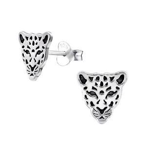 Image Is Loading 925 Sterling Silver Leopard Stud Earrings