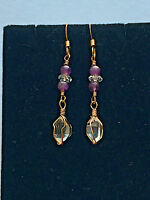 Authentic Natural Ny Herkimer Diamonds & Amethyst Gold Earrings