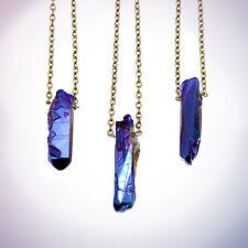 Blue Crystal Bullet Stone Necklace-Vintage Boho-Galaxy Quartz Jewellery- Healing