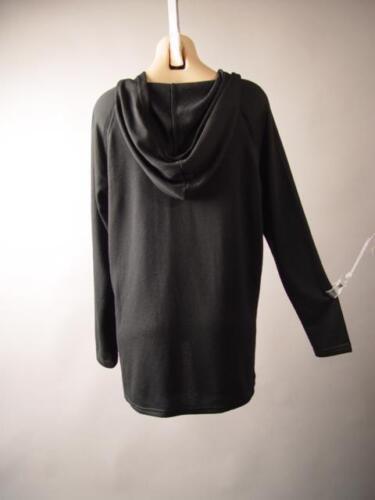 Black Lace Up Tie Neck Gothic Grunge Sporty Punk Hoodie 255 mv Sweatshirt S M