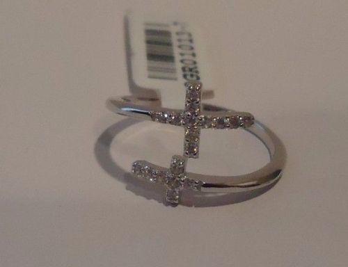 Double Croix Bague avec .25 Ct Labo Diamants//Taille 5-9//925 Sterling Silver