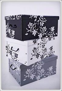 Image Is Loading Decorative Floral White Black Grey Lidded Handled Cardboard