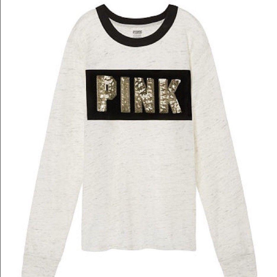 Victoria's Secret Rosa Long Sleeve T-shirt Top Größe Large  NWT