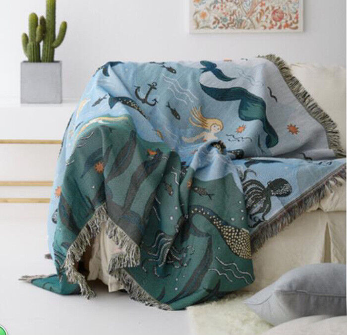 Mermaid & Sea Animal Fringed Blanket Tapestry Sofa Cover Bed Chair Throw Cover