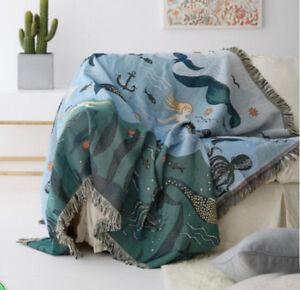 Image Is Loading Mermaid Amp Sea Animal Fringed Blanket Tapestry Sofa