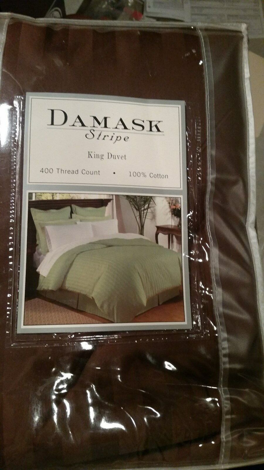 King Size 400 Thread Count 100% Cotton Sateen Stripe Duvet Cover Chocolate Brown
