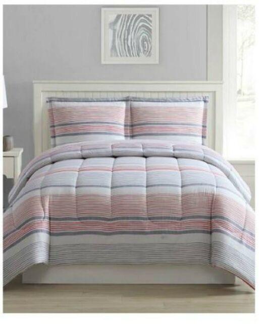Shilo 3-Pc. Reversible Stripe or Clean Soft Blue King Size Comforter Set
