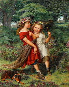 Beautiful  Oil painting children little girls playing with Twigs umbrella dog