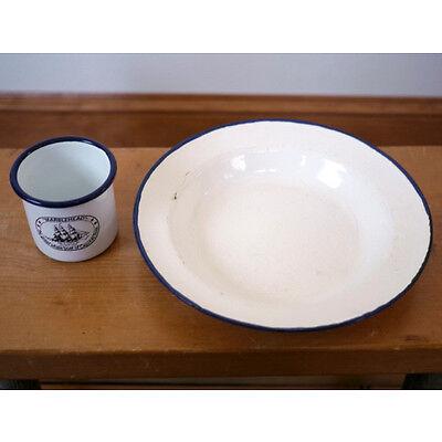Vintage Marblehead Whale Boat Enamelware Metal White Blue Plate Mug Cup Set