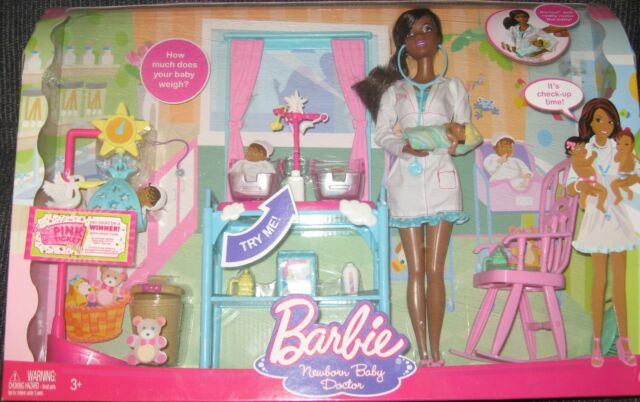 Rare Doctor  Barbie with Happy Family size Babies AAmerican