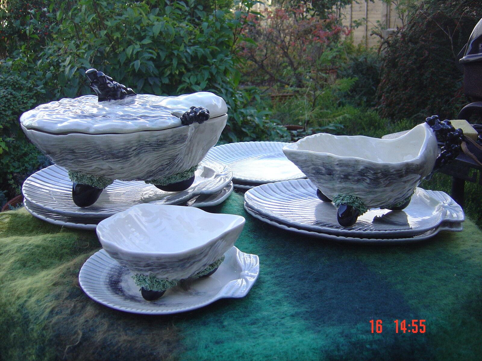 Vintage Rare Bordallo Pinheiro Oyster SOUPIERE Set
