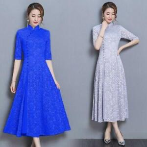 Lady-Lace-Floral-Collar-Ethnic-Mandarin-Chinese-Half-Sleeve-Long-Dress-Qipao-Hot
