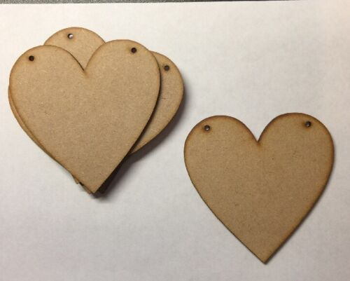 Wooden 80mm 8cm laser cut 3mm MDF Hearts blank craft shape sign with holes