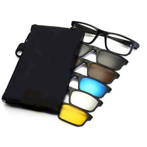 1-Sporty-Rx-able-Eyeglass-Frame-5-Pcs-Magnetic-Clip-on-Sunglasses-UV-Polarized