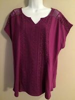 Women's 89th & Madison Vivid Viola Top With Lacey Front Size 1x