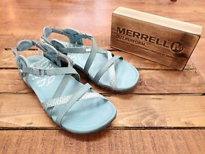44d2b21c38b8 Image is loading MERRELL-Terran-Lattice-II-Blue-Smoke-Womens-Sandals-