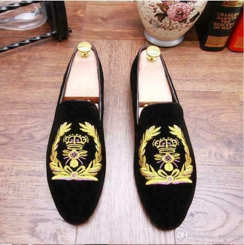 Mens Handmade Shoes Golden Embroidery Loafers Black Velvet Slippers Party Wear