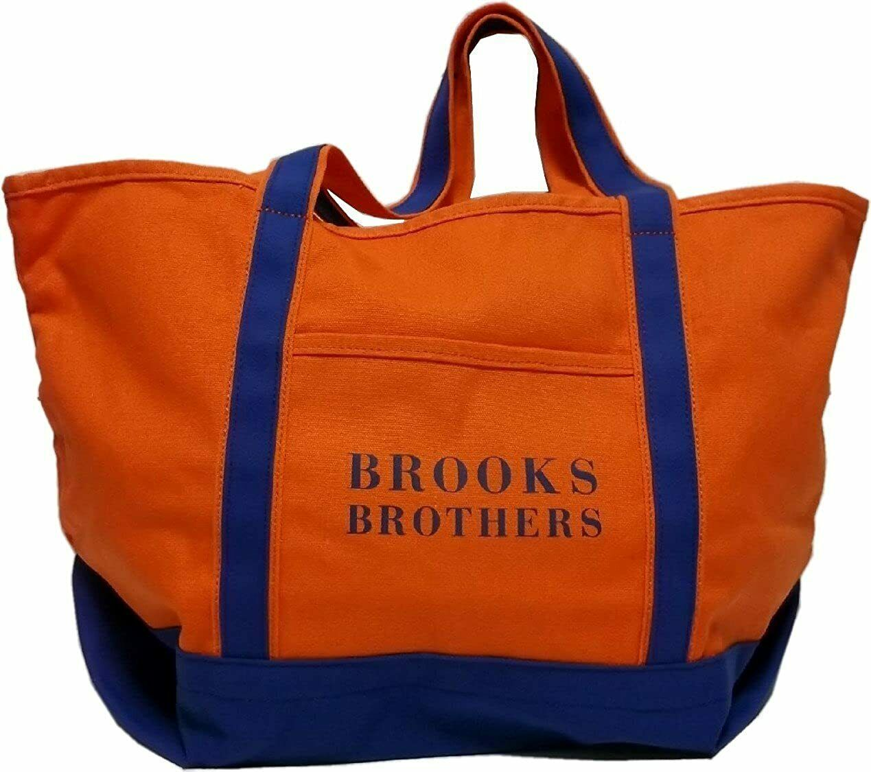 Brooks Brothers Canvas Tote Shopping Bag Orange/Blue Contrast One Size