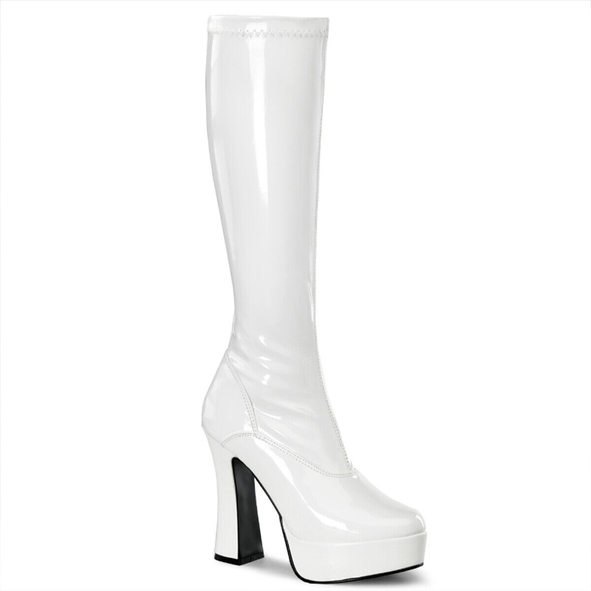 Pleaser Electra - 2000Z blancoo Patente Elástico Plataforma botas Hasta La Rodilla Baile
